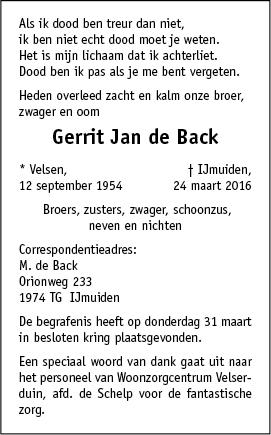 Overleden gerrit jan de back 1209 1954 24 03 2016 for Multimate ijmuiden