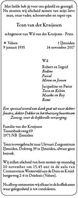 Overleden teun van der kruijssen 9 01 1935 14 11 2017 for Multimate ijmuiden