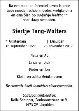 Overleden siertje tang wolters 18 09 1929 23 11 2017 for Multimate ijmuiden