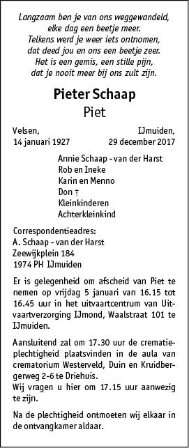 Overleden pieter schaap 14 01 1927 29 12 2017 for Multimate ijmuiden