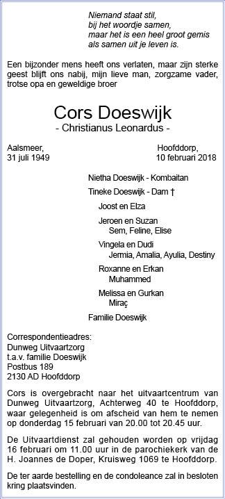 Familiebericht/overlijdensbericht
