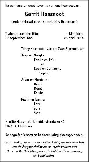 Overleden gerrit haasnoot 17 09 1922 26 04 2018 for Multimate ijmuiden