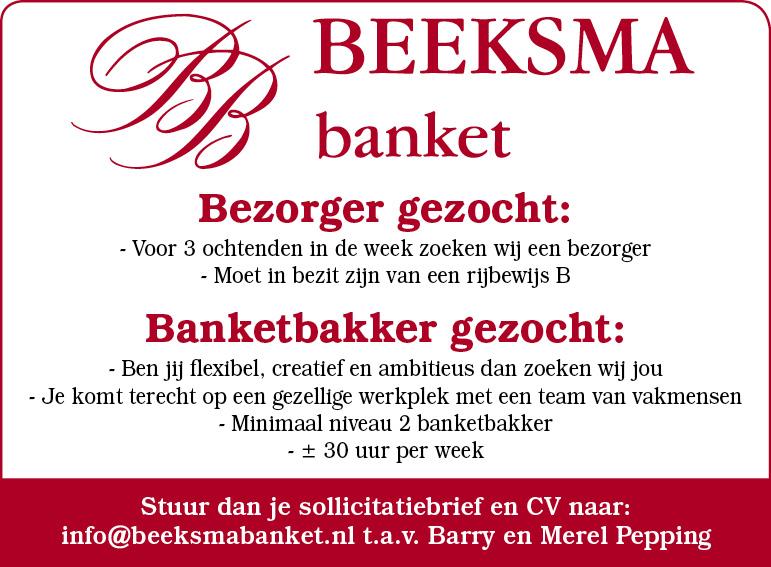 Vacature Banketbakker