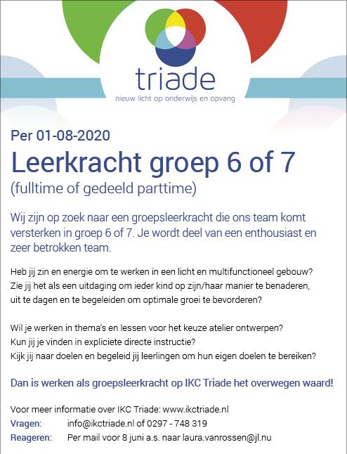 Vacature Leerkracht groep 6 of 7