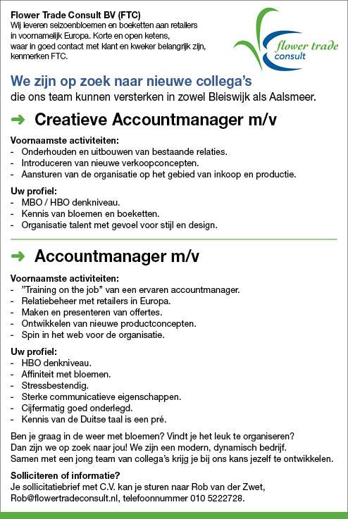 Vacature Creatieve Accountmanager m/v