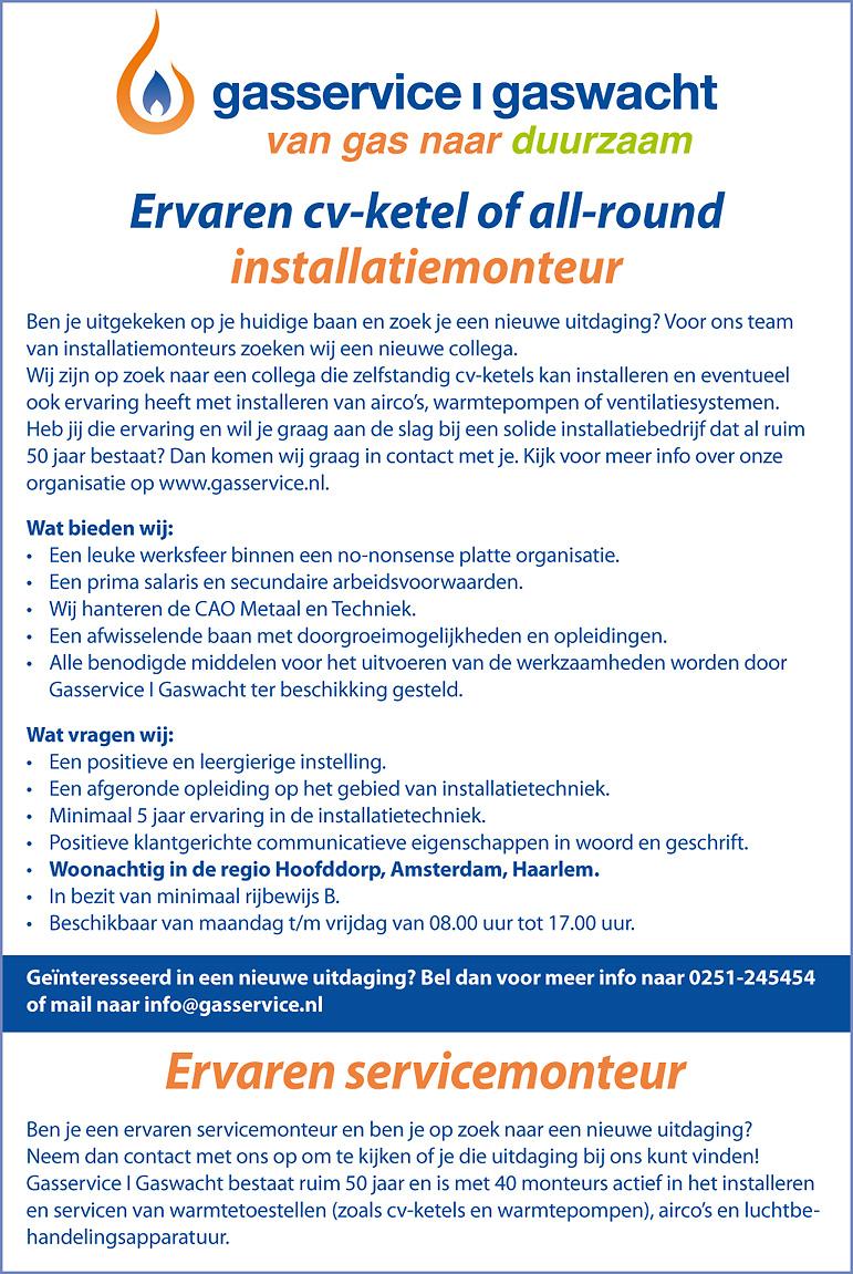 Vacature Ervaren CV-ketel of All-round installatiemonteur