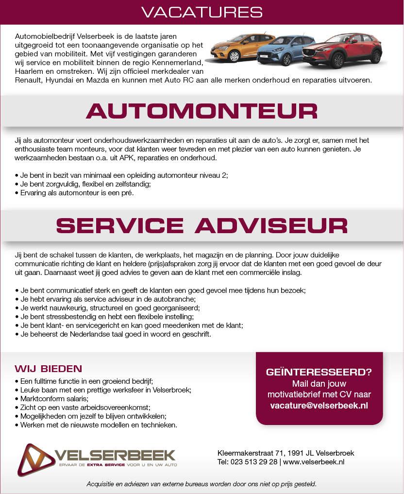 Vacature Service adviseur