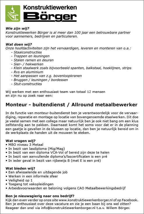 Vacature Monteur - buitendienst / Allround metaalbewerker