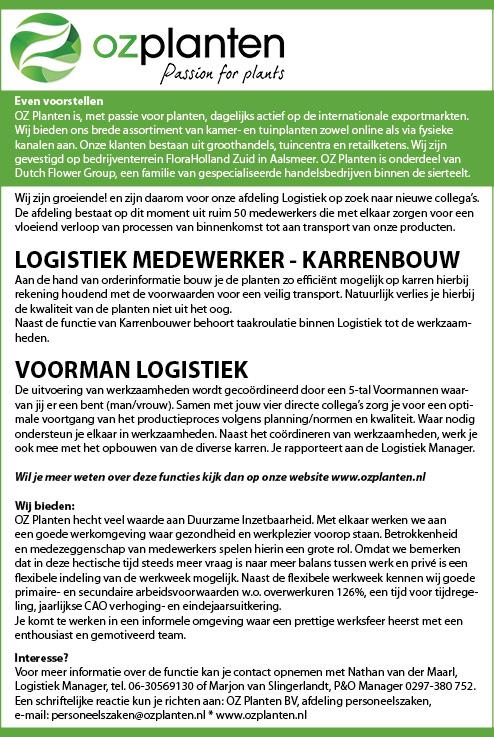 Vacature Logistiek medewerker karrenbouw