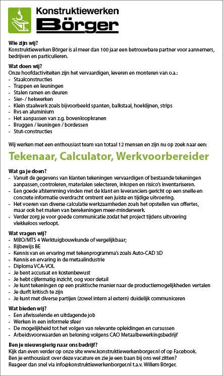 Vacature Tekenaar, Calculator, Werkvoorbereider