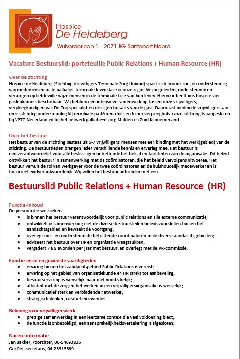 Vacature Bestuurslid; portefeuiIlle Public Relations + Human Resource (HR)