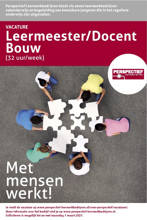 Vacature Leermeester/Docent Bouw