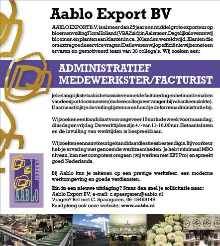 Vacature Administratief medewerkster/facturist