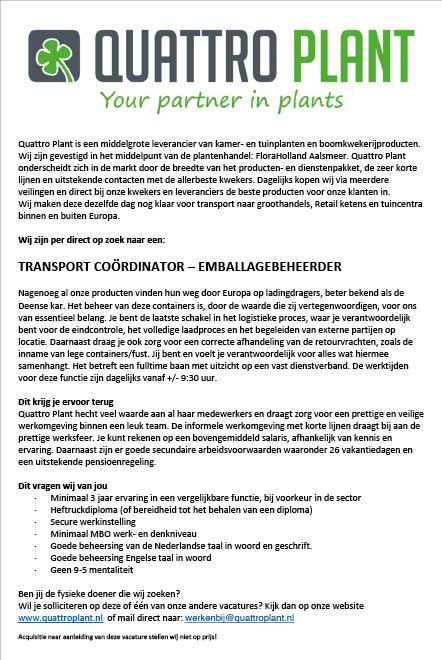 Vacature Transport Coördinator - Emballagebeheerder
