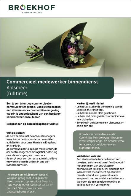 Vacature Commercieel medewerker binnendienst M/V