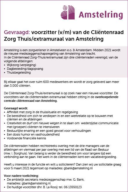 Vacature Voorzitter (v/m) van de cliëntenraad Zorg Thuis/extramuraal van Amstelring
