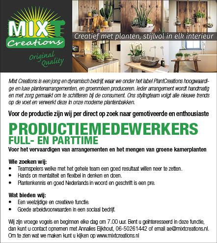 Vacature Productiemedewerkers M/V