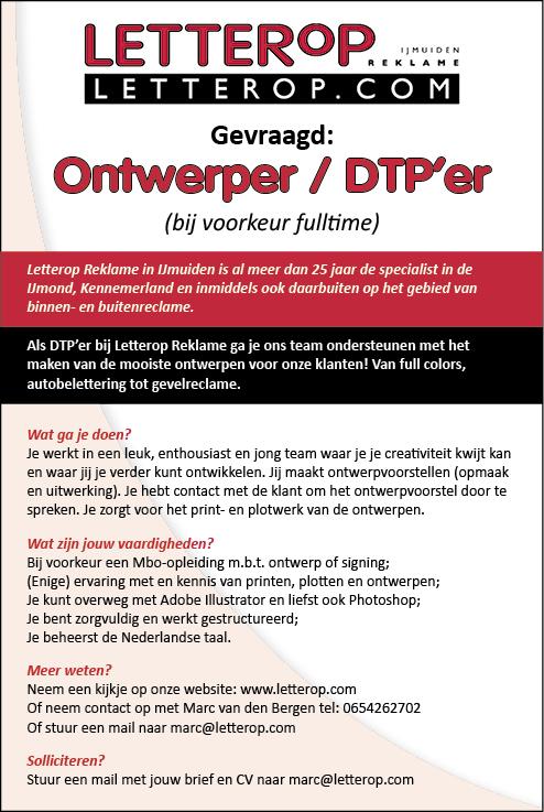 Vacature Ontwerper / DTP'er