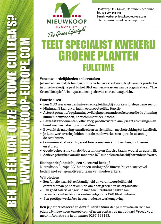 Vacature Teelt specialist kwekerij groene planten