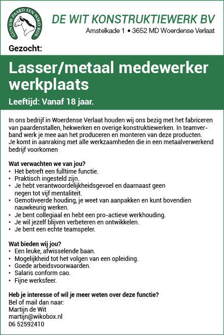 Vacature Lasser/metaal medewerker werkplaats