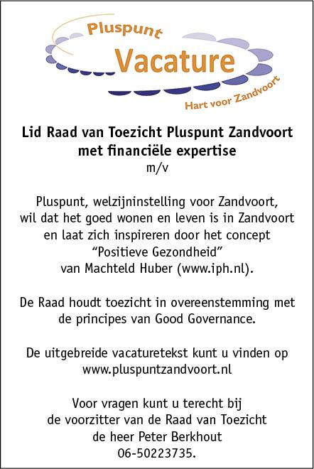 Vacature Lid Raad van Toezicht Pluspunt Zandvoort met financiële expertise m/v