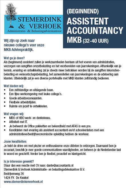 Vacature (Beginnend) assistent accountancy MKB