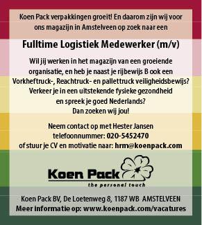 Vacature Fulltime Logistiek Medewerker m/v