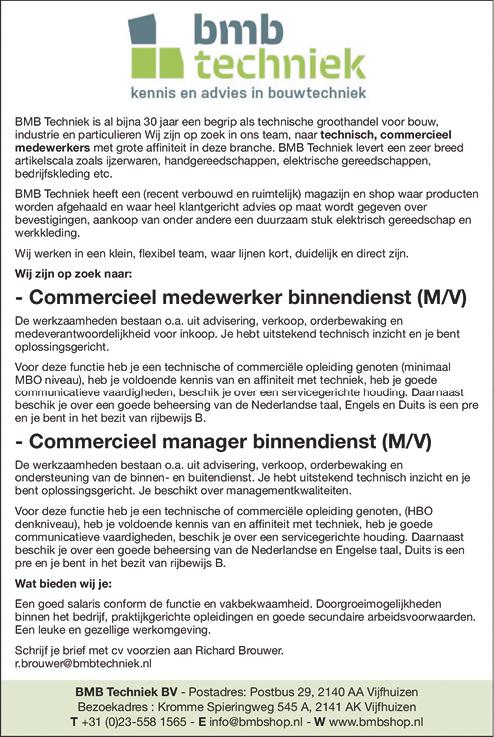 Vacature Commercieel Manager Binnendienst (M/V)