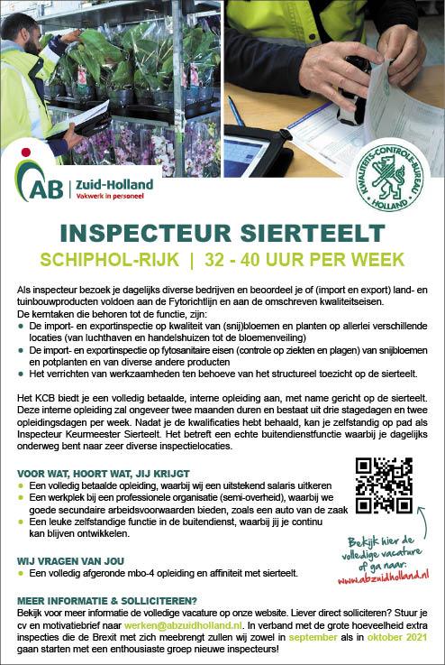 Vacature Inspecteur Sierteelt