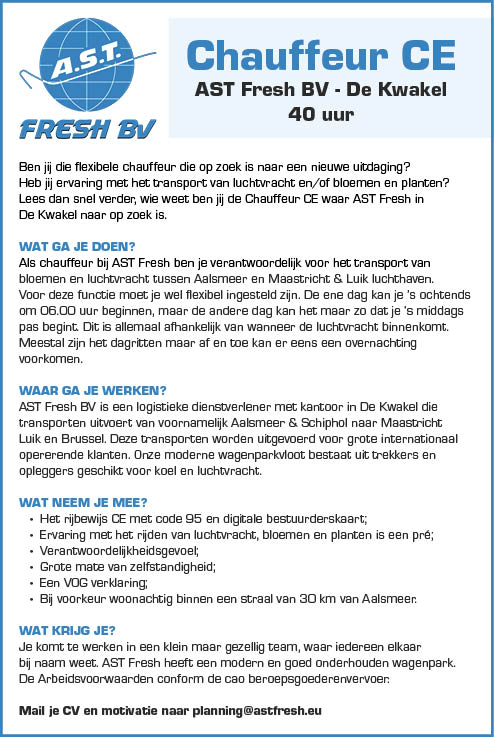 Vacature Chauffeur CE