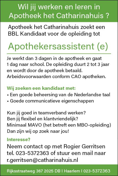 Vacature Apothekersassistent(e)
