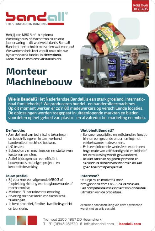 Vacature Monteur Machinebouw