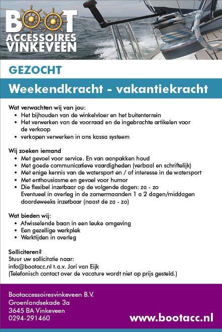 Vacature Weekendkracht - Vakantiekracht