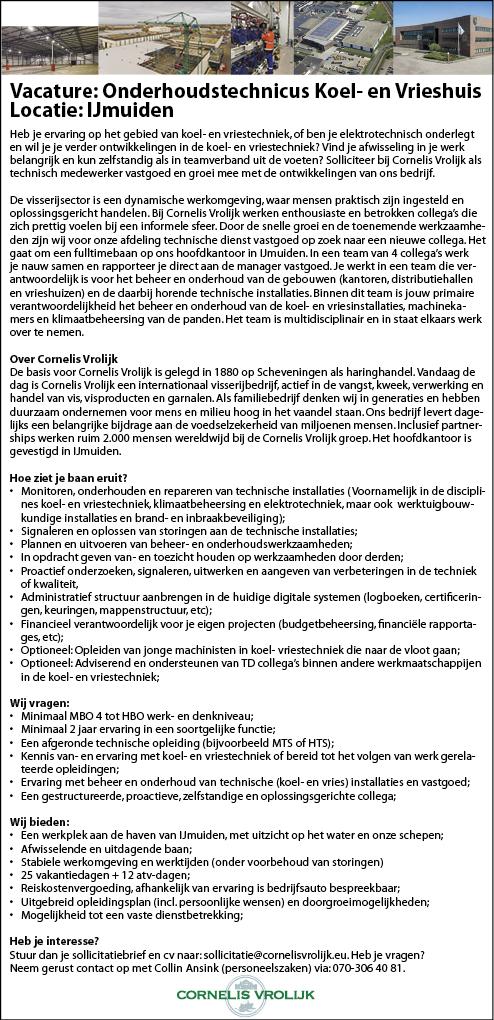 Vacature Onderhoudstechnicus Koel- en Vrieshuis