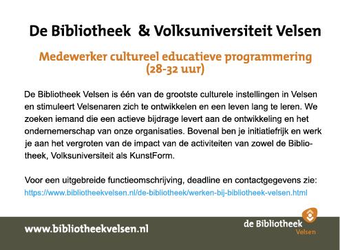 Vacature Medewerker cultureel educatieve programmering