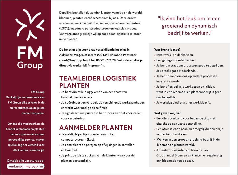 Vacature Teamleider Logistiek Planten