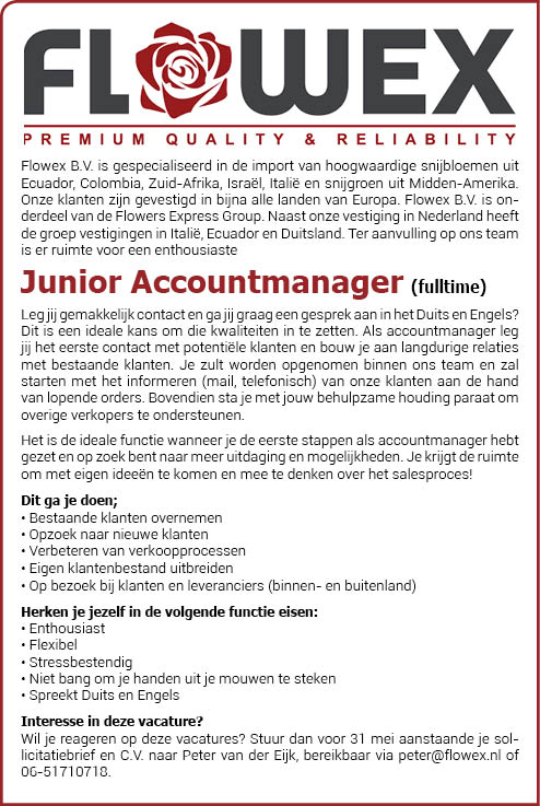 Vacature Junior Accountmanager