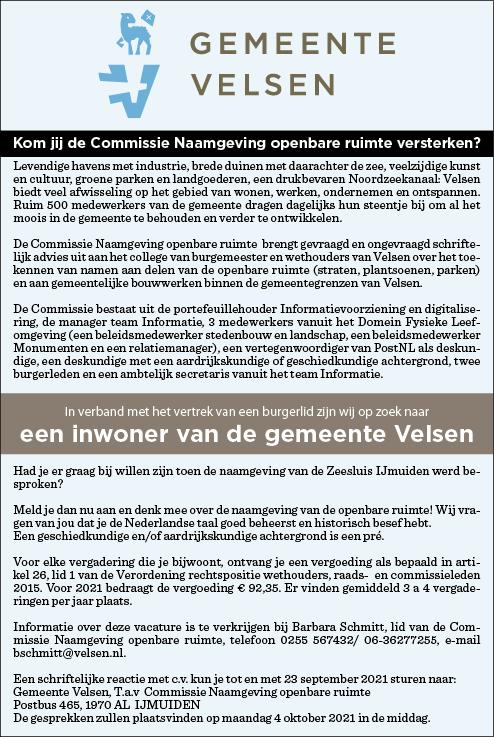 Vacature Burgerlid Gemeente Velsen