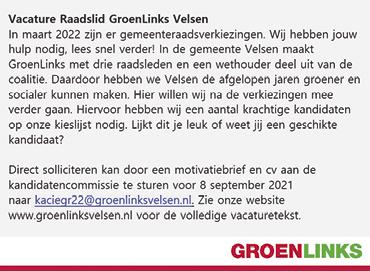 Vacature Raadslid GroenLinks Velsen