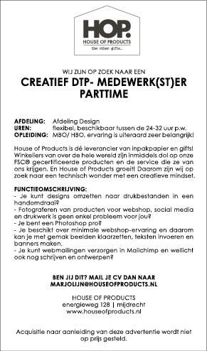 Vacature Creatief DTP-Medewerk(st)er