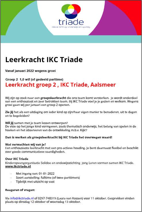 Vacature Leerkracht groep 2