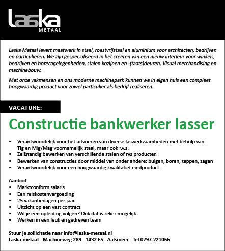 Vacature Constructie bankwerker lasser