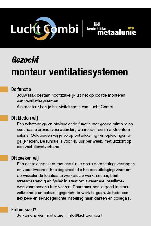 Vacature Monteur ventilatiesystemen