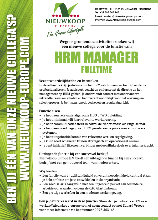Vacature HRM Manager