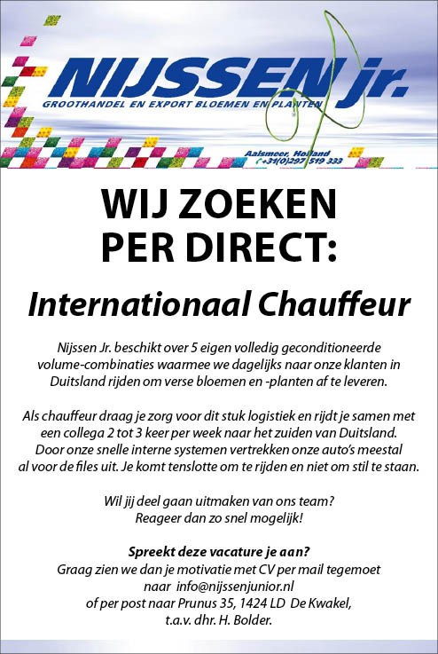 Vacature Internationaal Chauffeur