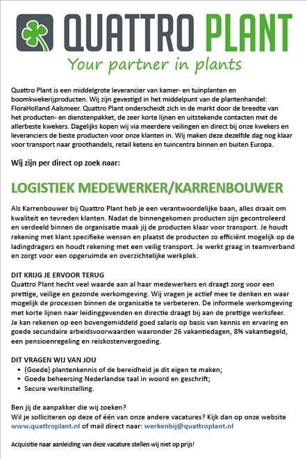 Vacature Logistiek Medewerker/Karrenbouwer