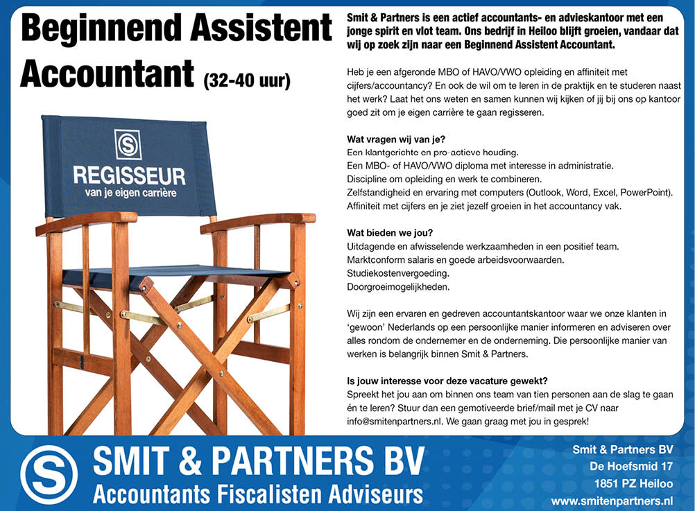 Vacature Beginnend Assistent Accountant