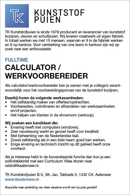 Vacature Calculator / Werkvoorbereider