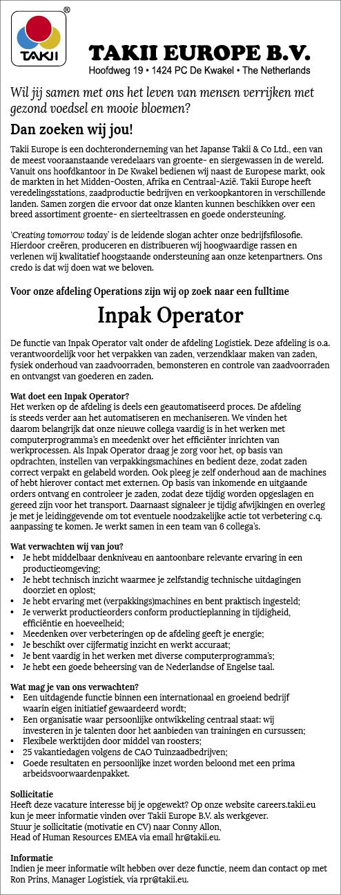 Vacature Inpak Operator