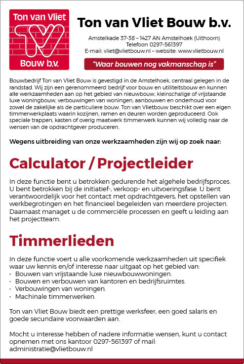 Vacature Calculator / Projectleider